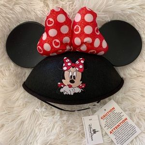 Disney Minnie Mouse Ears with Felt Cap Chin Strap